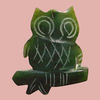 Awesome OWL Carved Green Stone Brooch