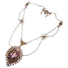 Gorgeous 800 Silver AMETHYST Stone Antique Festoon Necklace
