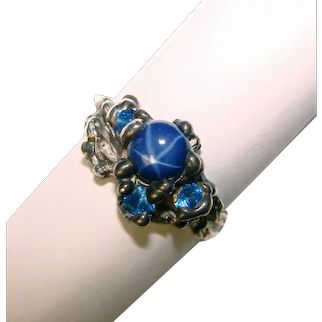 Gorgeous STERLING Blue Star Sapphire Stone Vintage Ring