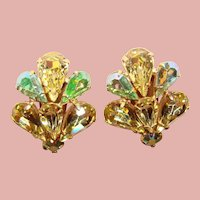 Fabulous YELLOW & GREEN Aurora Vintage Rhinestone Clip Earrings