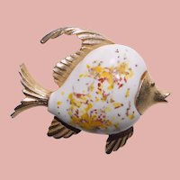 Awesome FISH Ceramic Belly Vintage Brooch