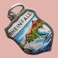 800 Silver & Enamel RHINE FALLS Rheinfall Charm - Souvenir of Switzerland - Travel Shield