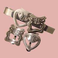 Fabulous Sterling REBAJES Comedy & Tragedy Drama Mask Design Cufflinks Set - American Studio Jewelry