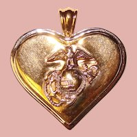 Awesome STERLING USMC Heart Design Pendant - US Marine Corps Sweetheart