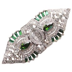 Fabulous CORO Green & Clear Rhinestone DUETTE Brooch - Dress Clips
