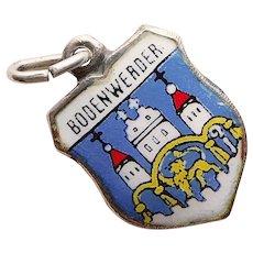 800 Silver & Enamel BODENWERDER Charm - Souvenir of Germany - Travel Shield