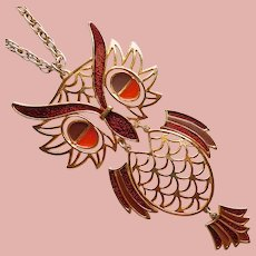Fabulous OWL Enamel Pendant Necklace - Runway Statement Huge - Autumn Fall Colors