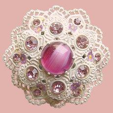 Gorgeous WEST GERMANY Art Glass & Lavender Rhinestone Vintage Brooch
