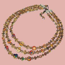 Fabulous Light Topaz Brown Aurora Crystal 3 Strand Vintage Necklace