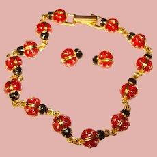 Gorgeous JOAN RIVERS Enamel Lady Bugs Bracelet & Earrings Set