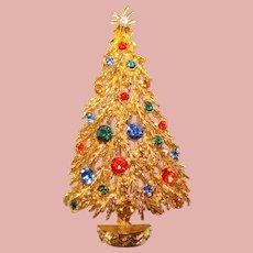 Vintage ART Signed Rhinestone Christmas Tree Brooch