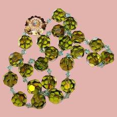 Fabulous GREEN & AQUA Blue Large Aurora Crystal Beads Vintage Necklace
