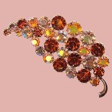 Fabulous Brown & Aurora Vintage Rhinestone Brooch