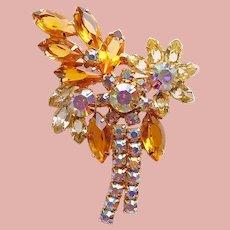 Fabulous Amber Glass & Aurora Rhinestone Vintage Brooch - Autumn Fall Colors