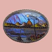 Fabulous BUTTERFLY WING Vintage Brooch - Blue Morpho - Souvenir of Brazil