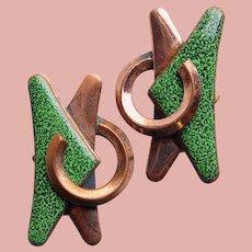 Fabulous MATISSE Green Enamel Earrings - Great Modernist Design