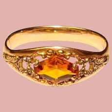 Fabulous Antique Ornate Amber Glass Stone Bangle Bracelet