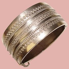 Fabulous Sterling Victorian Wide Ornate Antique Bangle Bracelet