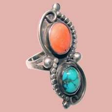 Gorgeous STERLING Coral & Turquoise Vintage RING