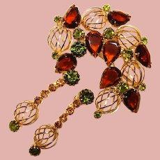 Fabulous Brown & Green Glass Vintage Rhinestone Brooch & Dangle Earrings Set