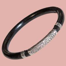 Fabulous Hawaiian Coral & Sterling Bangle Bracelet