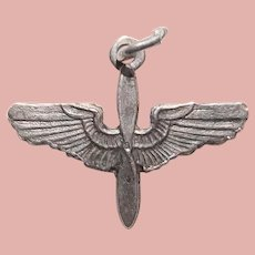 Sterling Army Air Corps Wings Air Force Sweetheart Charm