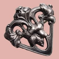 """Tiny Antique Art Nouveau Sterling Front Estate Mini Sash Pin Brooch - 13/16"""" - For Your Doll"""