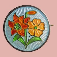 """Tiny Sterling & Enamel Brooch - 1/2"""" - For Your Doll"""