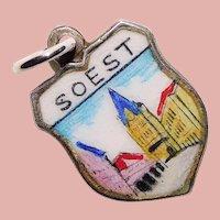 800 Silver & Enamel SOEST Charm - Souvenir of Germany - Travel Shield