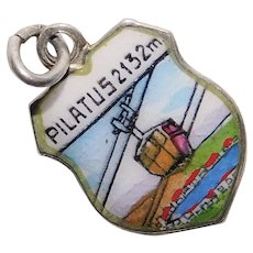 800 Silver & Enamel MOUNT PILATUS Gondola Charm - Souvenir of Switzerland - Travel Shield