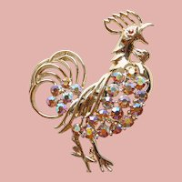 Awesome ROOSTER Apricot Aurora Rhinestone Brooch - Chicken