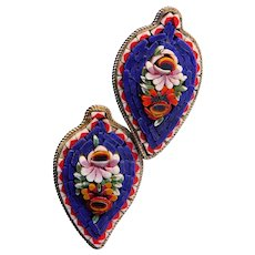 Fabulous MICRO MOSAIC Micromosaic Leaf Vintage Earrings - Screw Backs - Italy Italian