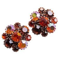 Gorgeous AUTUMN FALL Color Rhinestone Clip Earrings