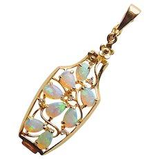 Fabulous Fiery Opal 14K Gold Pendant