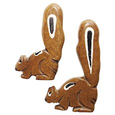 Awesome CHIPMUNKS Wood Brooch Set - Hand Carved & Painted - Scatter Pins Brooches