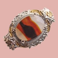"""Tiny Sterling & Banded Agate Brooch – 1"""" by 5/8"""" For Your Doll"""