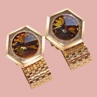 1960s Rivoli BROWN RHINESTONE Mesh Wrap Vintage Cufflinks - Signed Foster