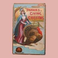 Antique Lady Walks Turkey on Reins Thanksgiving Postcard - Circa 1913