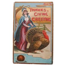 Antique Lady Walks Turkey on Reins Thanksgiving Postcard - Circa 1913