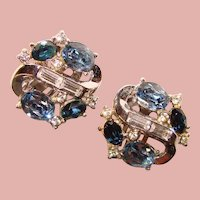 Gorgeous TRIFARI Blue Oval Rhinestone Vintage Clip Earrings
