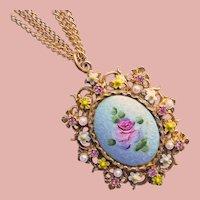 Gorgeous ART Aqua Enamel & Rhinestone Pendant Necklace