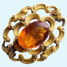 """Tiny Antique Amber Glass Stone Mini Sash Pin Brooch - 1"""" by 3/4"""" - For Your Doll - Watch or Locket Holder"""