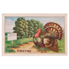 Antique Turkey Reading Sign Thanksgiving Postcard - Circa 1913