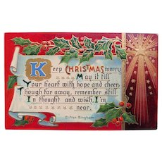 Antique Keep Christmas Merry Postcard