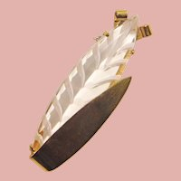 Fabulous CARVED LUCITE Figural Stylized Wheat Brooch