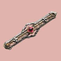 """Tiny Antique to Art Deco 10K Gold Red Stone Mini Bar Pin Brooch - 1"""" by 1/4"""" - For Your Doll"""
