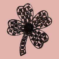 Fabulous 4 Leaf CLOVER Black Rhinestone Enameled Brooch