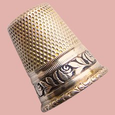 Antique Sterling Germany Rose Design Sewing Thimble - Size 4