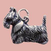 Sterling SCOTTY DOG Vintage Estate Charm - Scottie Terrier