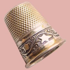 Antique Sterling Germany Ivy Design Sewing Thimble - Size 6